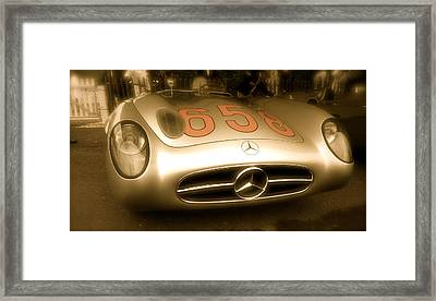 1955 Mercedes Benz 300slr Fangio Framed Print by John Colley