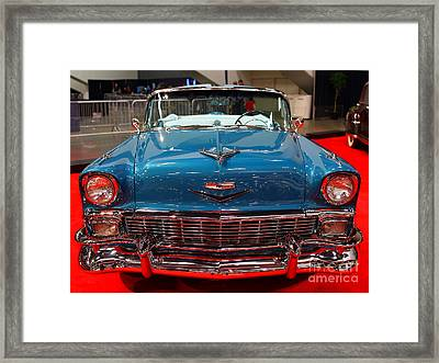 1956 Chevrolet Bel-air Convertible . Blue . 7d9246 Framed Print by Wingsdomain Art and Photography