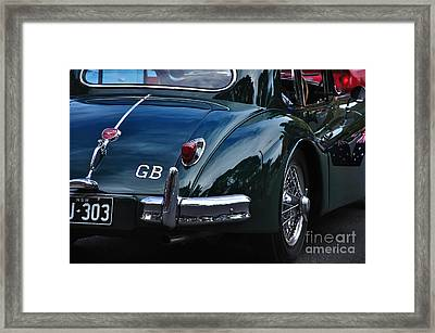 1956 Jaguar Xk 140 - Rear And Emblem Framed Print by Kaye Menner