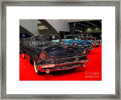1956 Lincoln Premiere Convertible . Blue . 7d9244 Framed Print by Wingsdomain Art and Photography