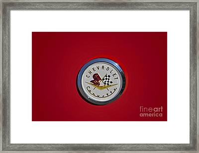 1957 Red Corvette Emblem Framed Print by Susan Candelario