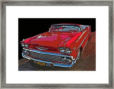 1958 Red Chevrolet Impala Convertible Framed Print by Samuel Sheats