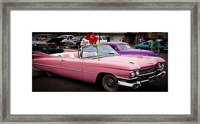 1959 Cadillac Convertible And The 1950 Mercury Framed Print by David Patterson