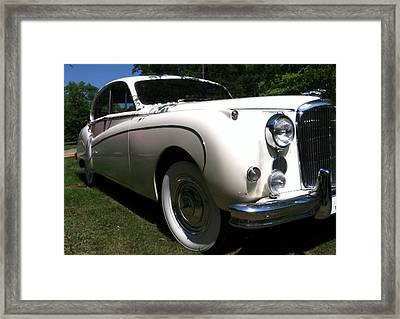 Framed Print featuring the photograph 1959 White Jaguar by Elizabeth Coats