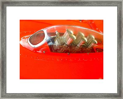 Framed Print featuring the photograph 1960 Ferrari 246s Dino Hood Detail by John Colley