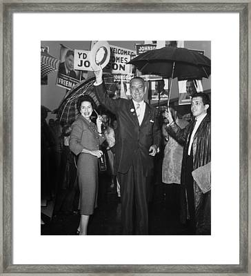 1960 Vice Presidential Campaign. Lyndon Framed Print by Everett