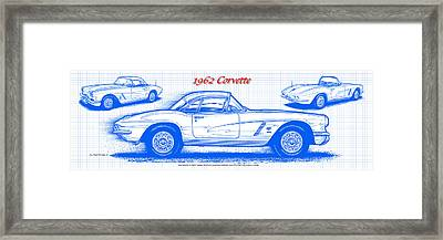 Framed Print featuring the drawing 1962 Corvette Blueprint by K Scott Teeters