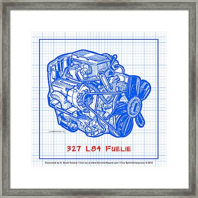 1963 - 1965 L84 327 Corvette Fuelie Engine Blueprint Framed Print