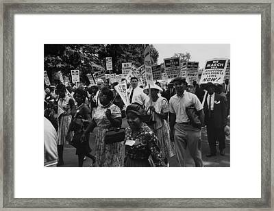 1963 March On Washington. Marchers Framed Print by Everett