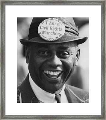 1963 March On Washington. Smiling Framed Print