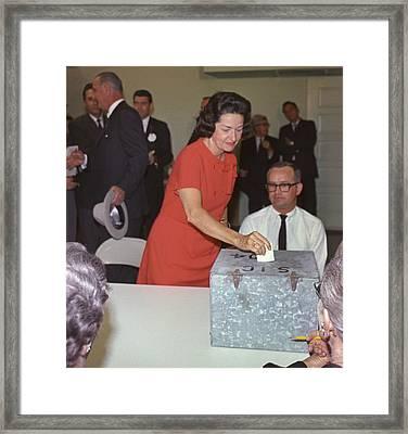1964 Presidential Election. Lady Bird Framed Print by Everett
