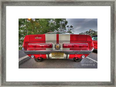 1965 Shelby Gt 500 In Red Framed Print by Lee Dos Santos
