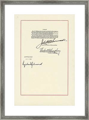 1965 Voting Rights Act. Last Page Framed Print by Everett
