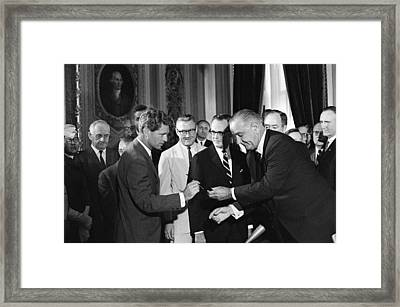 1965 Voting Rights Signing Ceremony Framed Print by Everett
