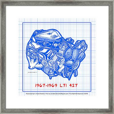 1967 - 1969 L71 427-435 Corvette Engine Blueprint Framed Print