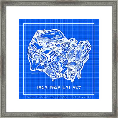 1967 - 1969 L71 427-435 Corvette Engine Reverse Blueprint Framed Print