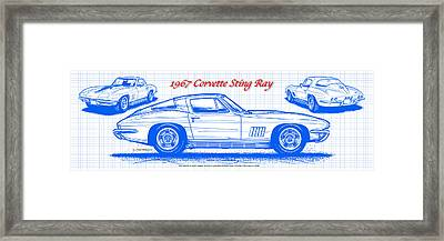 Framed Print featuring the drawing 1967 Corvette Sting Ray Coupe Blueprint by K Scott Teeters