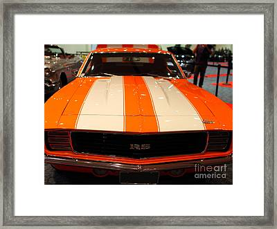 1969 Chevrolet Camaro 350 Rs . Orange With Racing Stripes . 7d9428 Framed Print by Wingsdomain Art and Photography