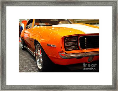 1969 Chevrolet Camaro 350 Rs . Orange With Racing Stripes . 7d9432 Framed Print by Wingsdomain Art and Photography
