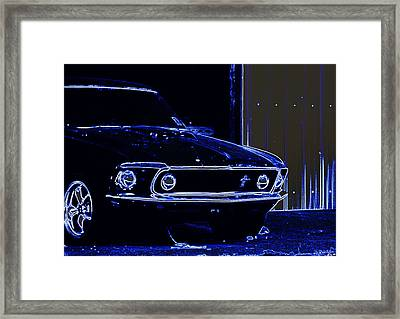 1969 Mustang In Neon Framed Print by Susan Bordelon