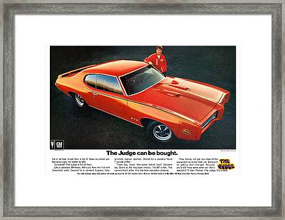 1969 Pontiac Gto The Judge Can Be Bought Framed Print by Digital Repro Depot