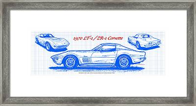 Framed Print featuring the drawing 1970 Lt-1 And Zr-1 Corvette Blueprint by K Scott Teeters