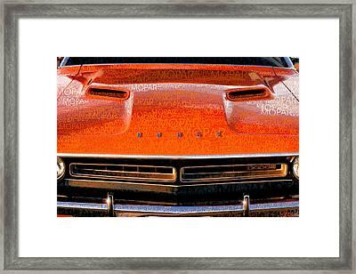 1971 Dodge Challenger - Orange Mopar Typography - Mp002 Framed Print by Gordon Dean II