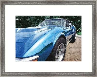 Framed Print featuring the painting 1972 Blue Corvette Stingray by Rod Seel