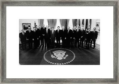 1974 Nixon Cabinet.  From Left Bryce Framed Print by Everett