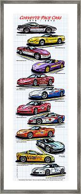 Framed Print featuring the drawing 1978 - 2008 Indy 500 Corvette Pace Cars by K Scott Teeters