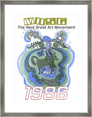 1986 Collectors Edition Poster Featuring Upside Down Art By Masg Artist L R Emerson II Framed Print by L R Emerson II
