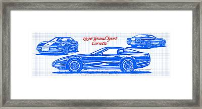 1996 Grand Sport Corvette Blueprint Framed Print