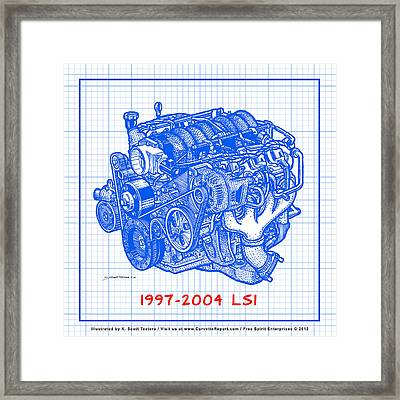 1997 - 2004 Ls1 Corvette Engine Blueprint Framed Print