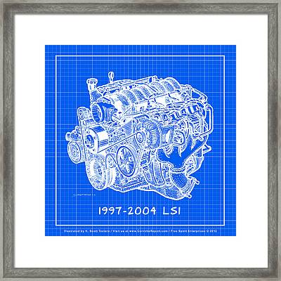 Framed Print featuring the drawing 1997 - 2004 Ls1 Corvette Engine Reverse Blueprint by K Scott Teeters