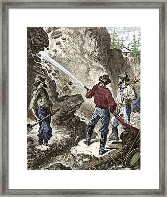 19th-century Gold Mining, California Framed Print by Sheila Terry