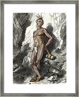 19th-century Native American Mine Worker Framed Print by Sheila Terry