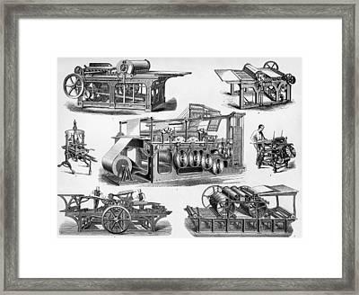 19th Century Printing Machines Framed Print
