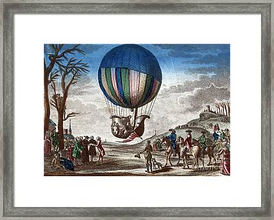 1st Manned Hydrogen Balloon Flight, 1783 Framed Print by Photo Researchers