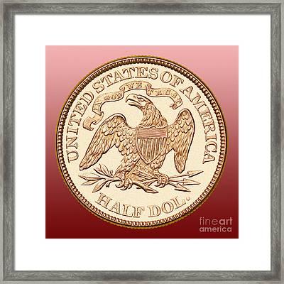 1870 Liberty Seated Half Dollar Framed Print by Jim Carrell