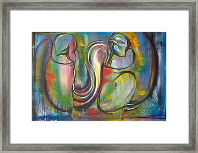 2 Snails And 3 Elephants Framed Print