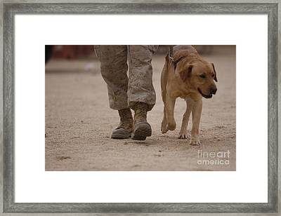 A Military Working Dog And His Handler Framed Print