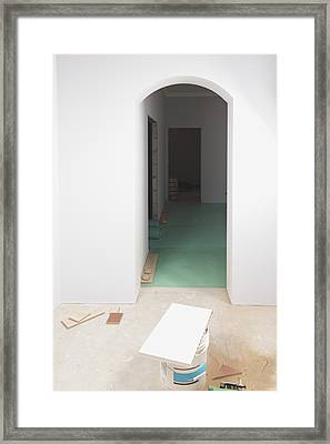 A Room With Partly Installed Laminate Framed Print