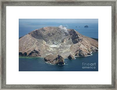 Aerial View Of White Island Volcano Framed Print by Richard Roscoe