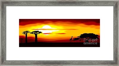 Africa Sunset Framed Print by Michal Boubin