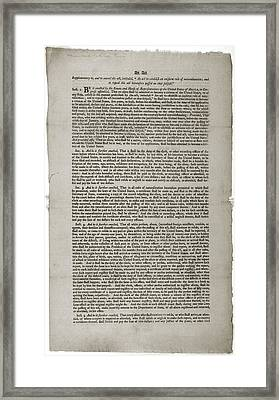 Alien And Sedition Acts Of 1798 Framed Print by Everett