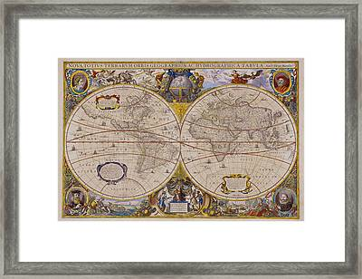 Antique Map Of The World Framed Print by Comstock