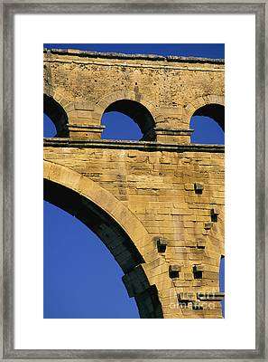 Aqueduc Du Pont Du Gard.provence Framed Print by Bernard Jaubert