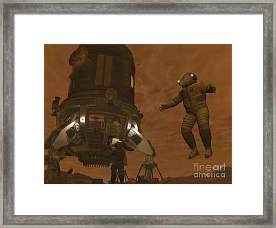 Artists Concept Of Astronauts Exploring Framed Print by Walter Myers