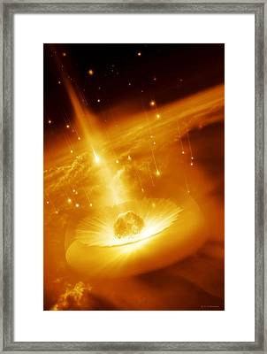 Asteroid Impacting The Earth, Artwork Framed Print
