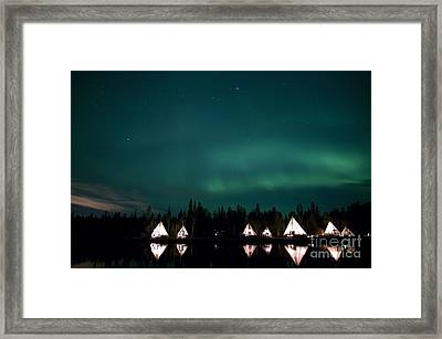 Aurora Above Aurora Village, Aurora Framed Print by Yuichi Takasaka